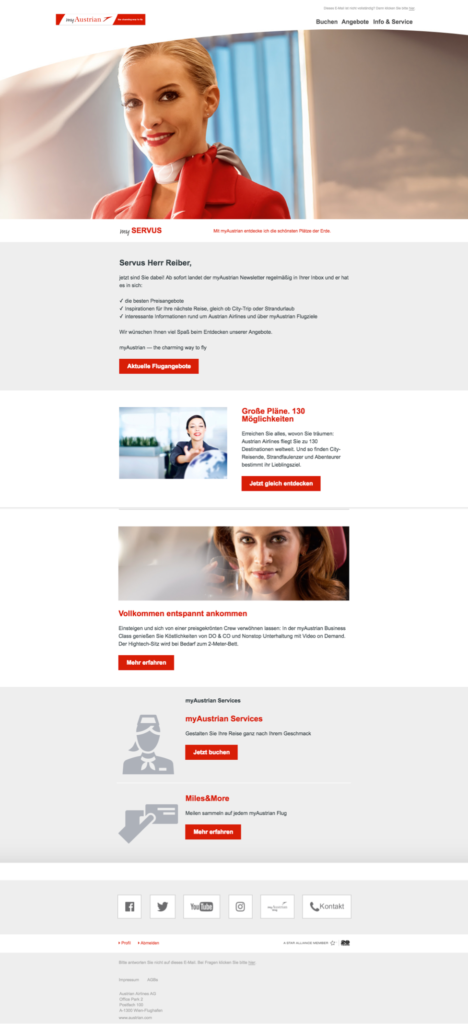 Newsletter Austrian Airlines